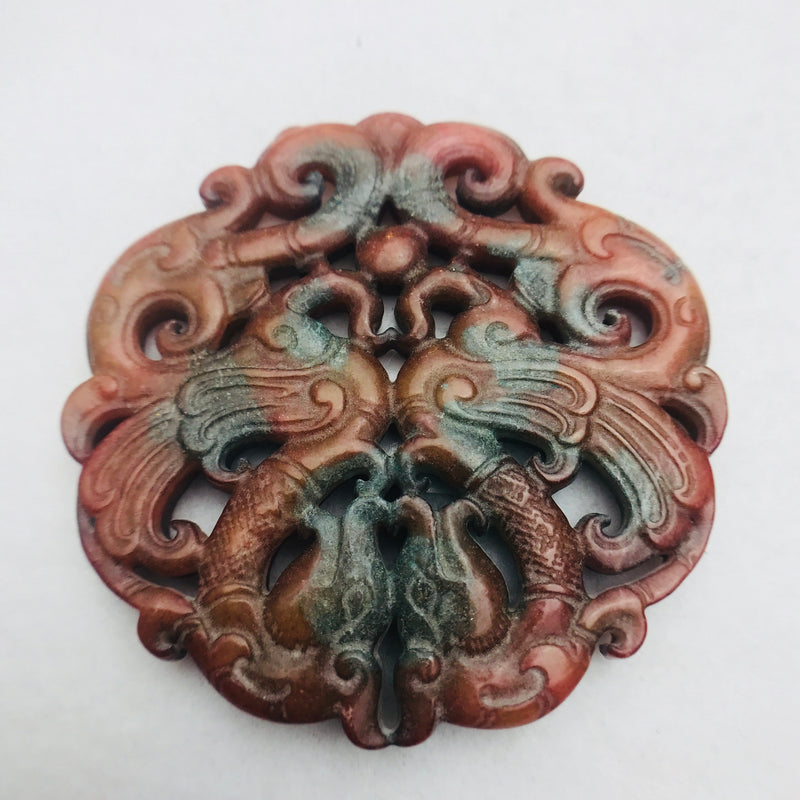 Carved Stone Pendant, Swansl, Brown 66x66mm