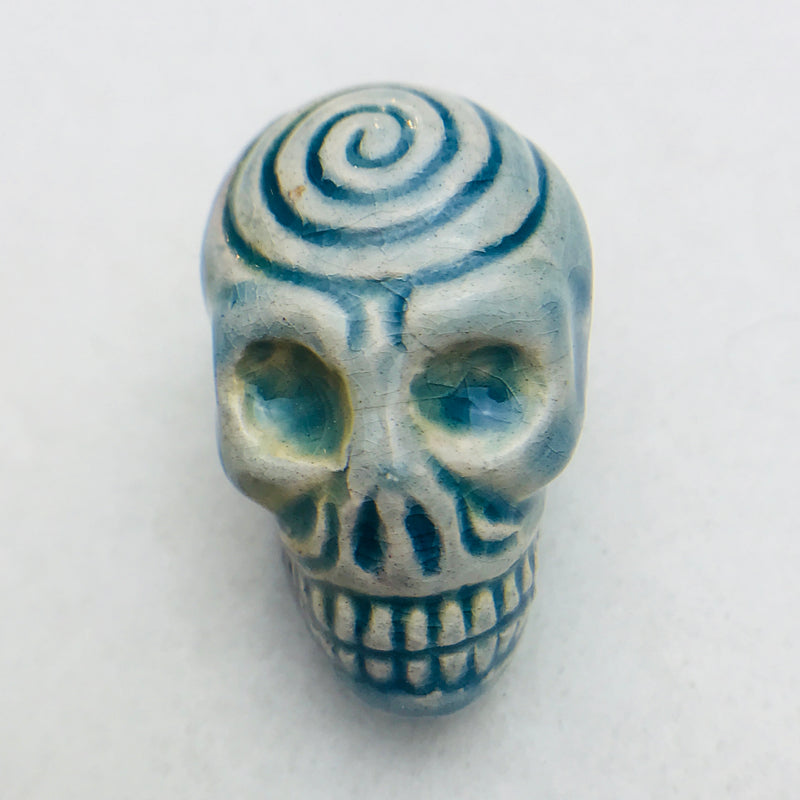 Skull Peruvian Ceramic Bead, Blue, 30mm