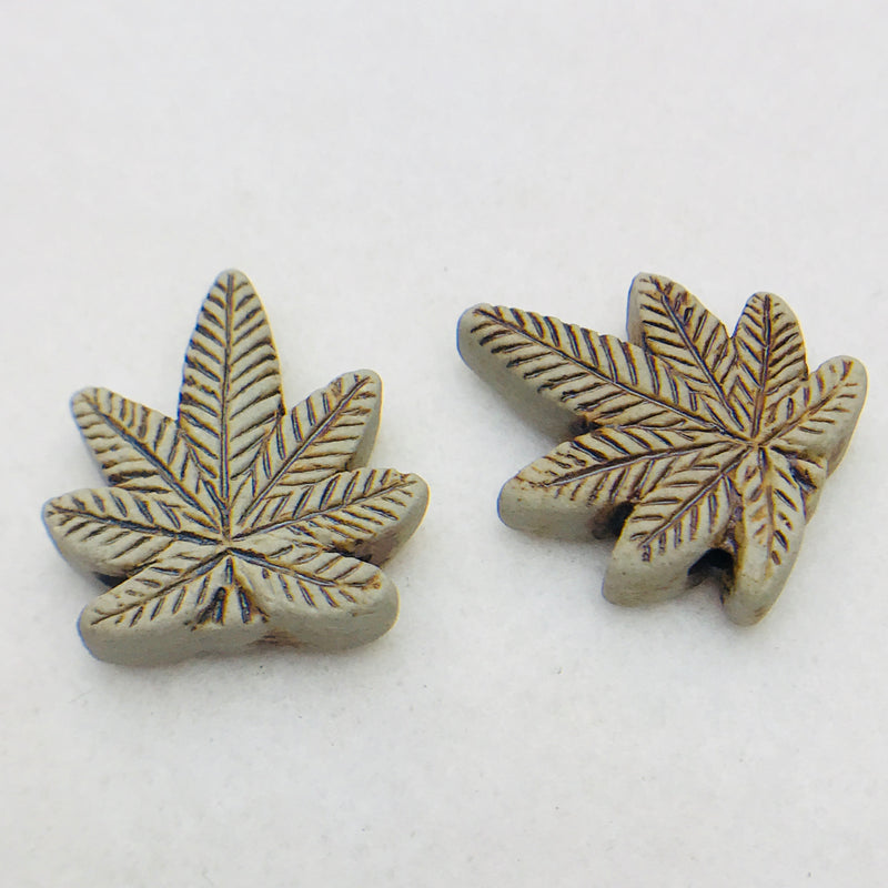 Marijuana Leaf Ceramic Raku Bead, 25x21mm