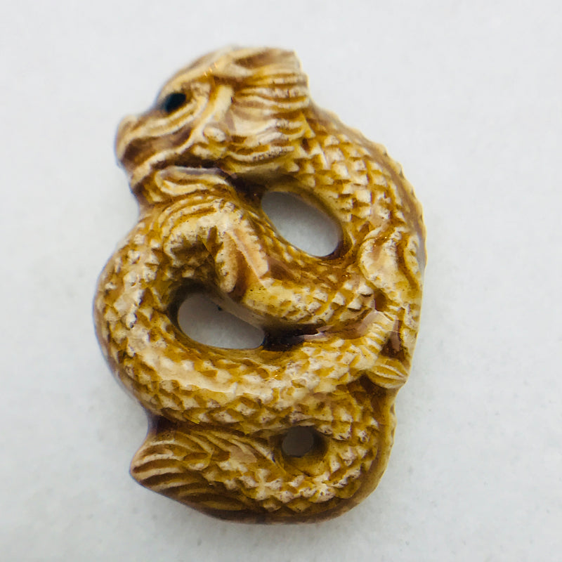 Chinese Dragon Ceramic Pendant, Beige