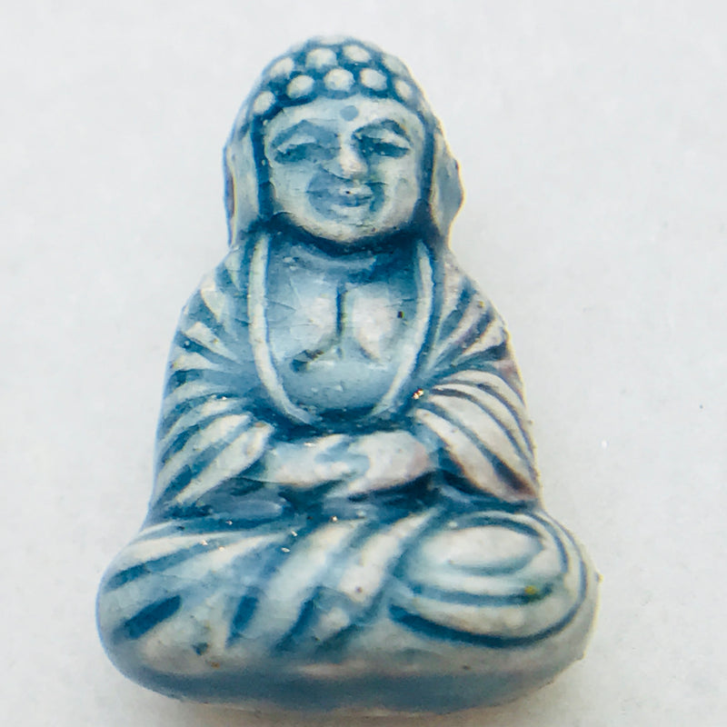 Sitting Buddha Ceramic Bead, Blue, 25x16mm