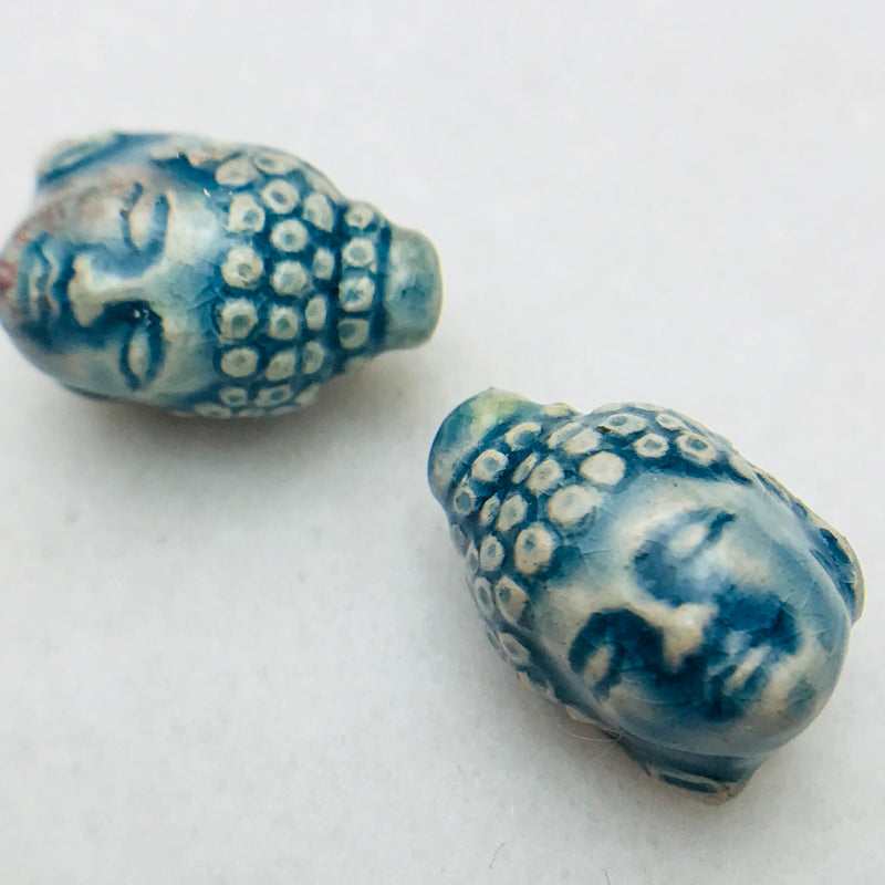 Buddha Head Ceramic Bead, Blue, 17x10mm