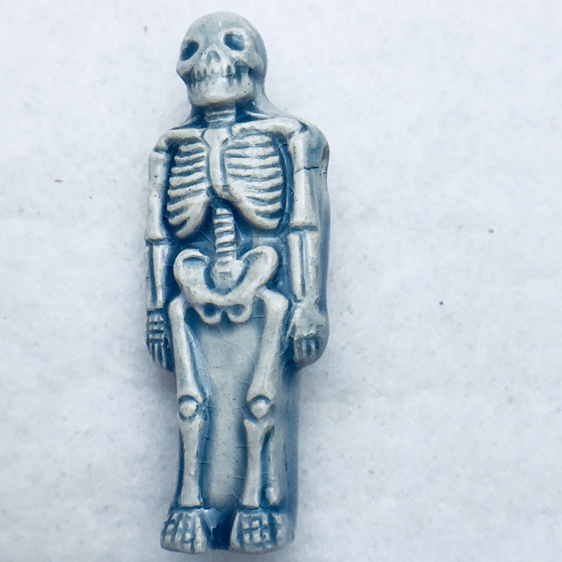 Skeleton Peruvian Ceramic Bead, Blue, 37mm