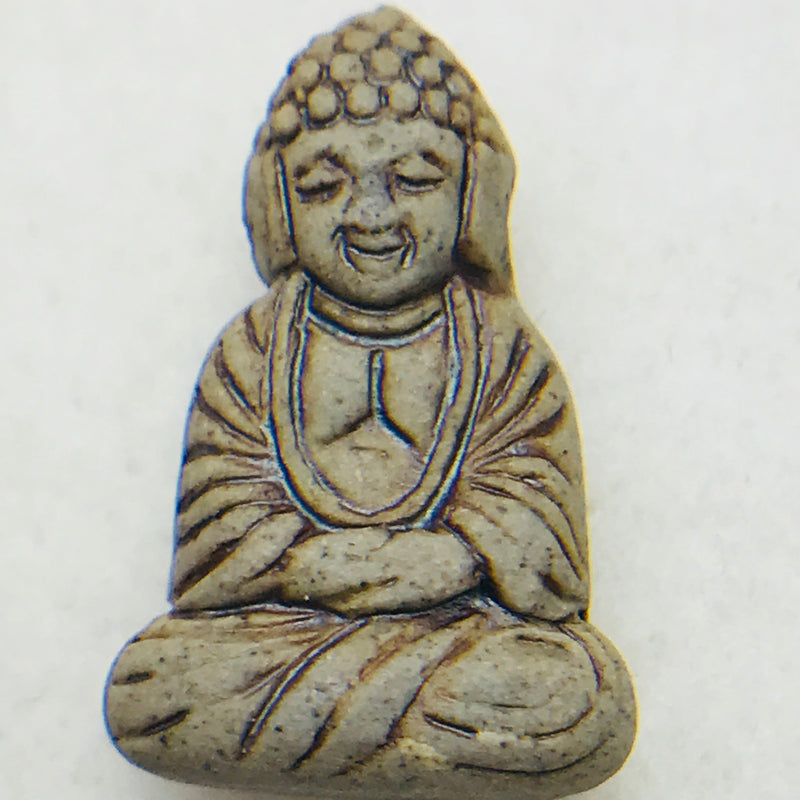 Sitting Buddha Ceramic Raku Bead, 26x16mm