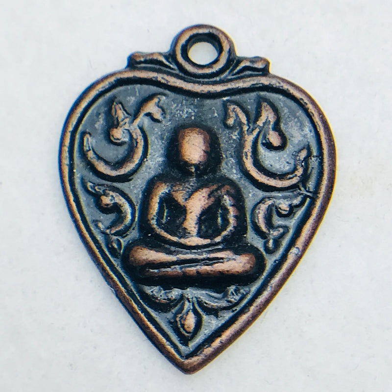 Buddha Heart Charm, 33x26mm