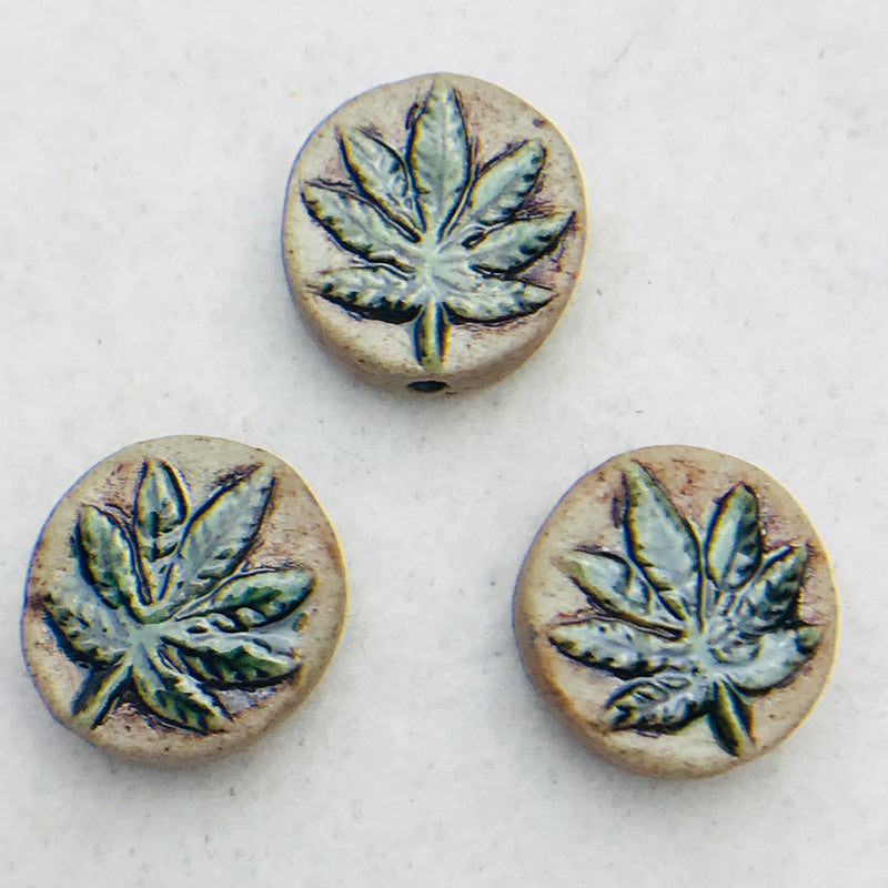 Marijuana Coin Ceramic Raku Bead, 12mm