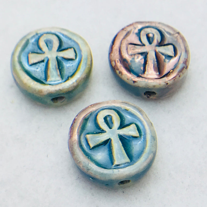 Ankh Coin Ceramic Bead, Blue, 12mm
