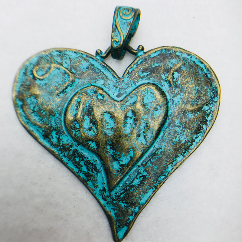 Patina Heart Charm, 60x66mm