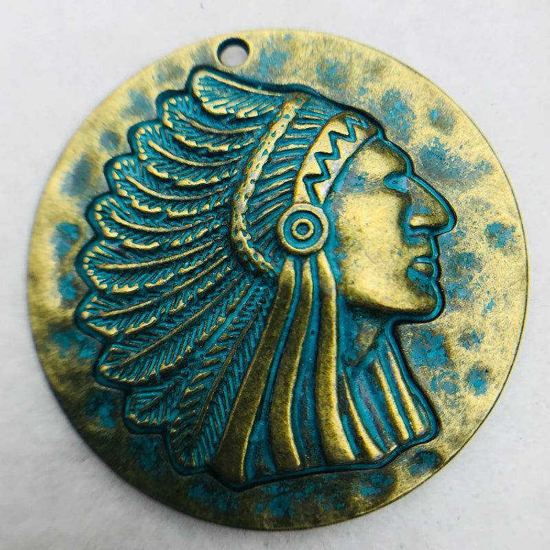 Patina Indian Head Charm, NC Size