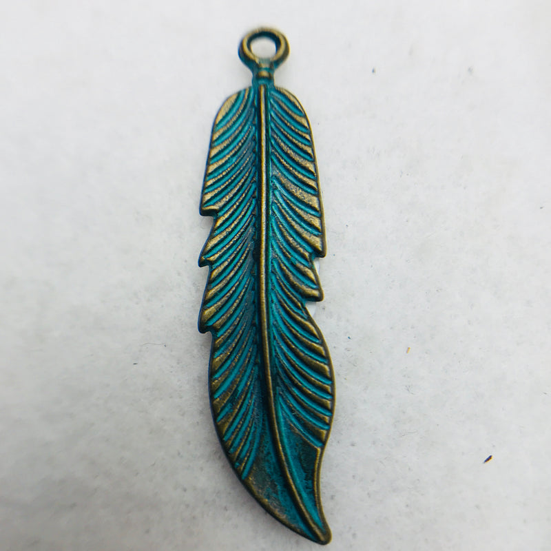 Patina Feather Charm, Silver, 38x10mm