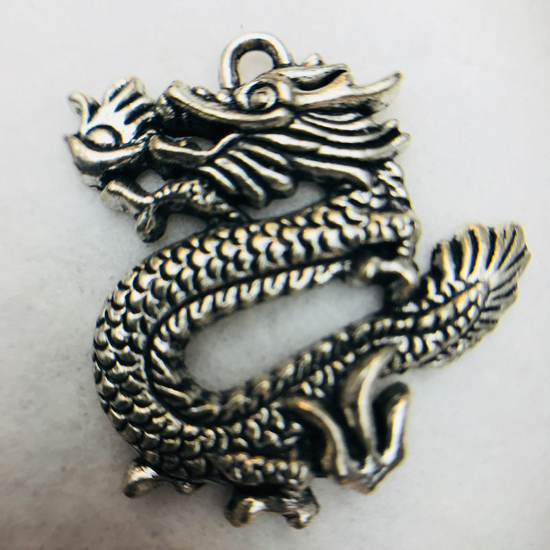 Dragon Charm, Silver, 35x35mm