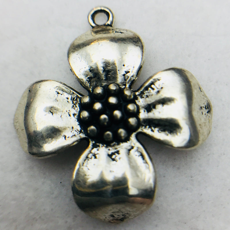Dogwood Flower Charm, Silver, 30x30mm