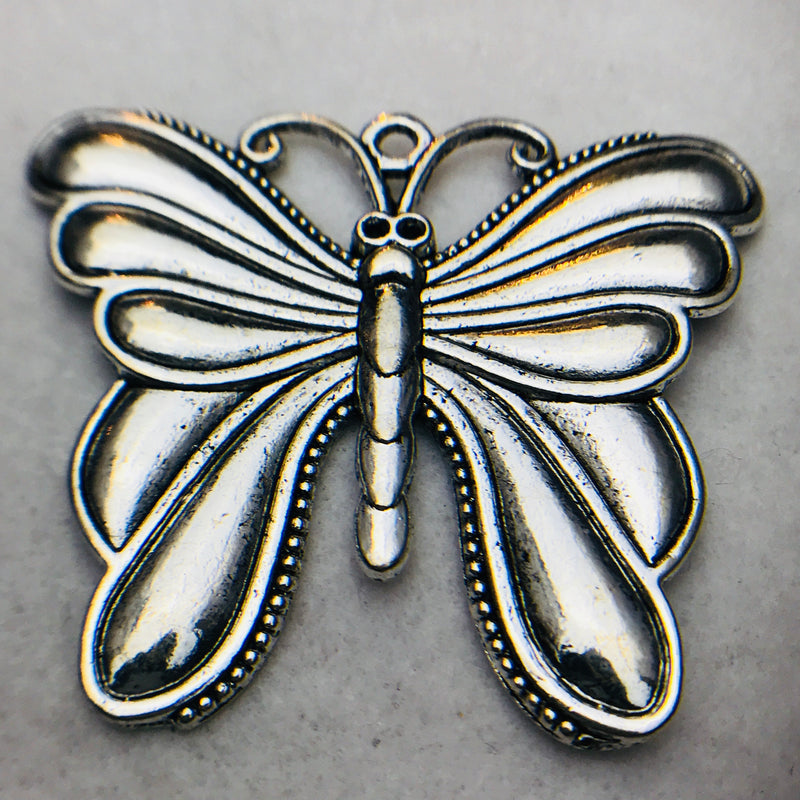 Butterfly Charm, Silver, 56x67mm
