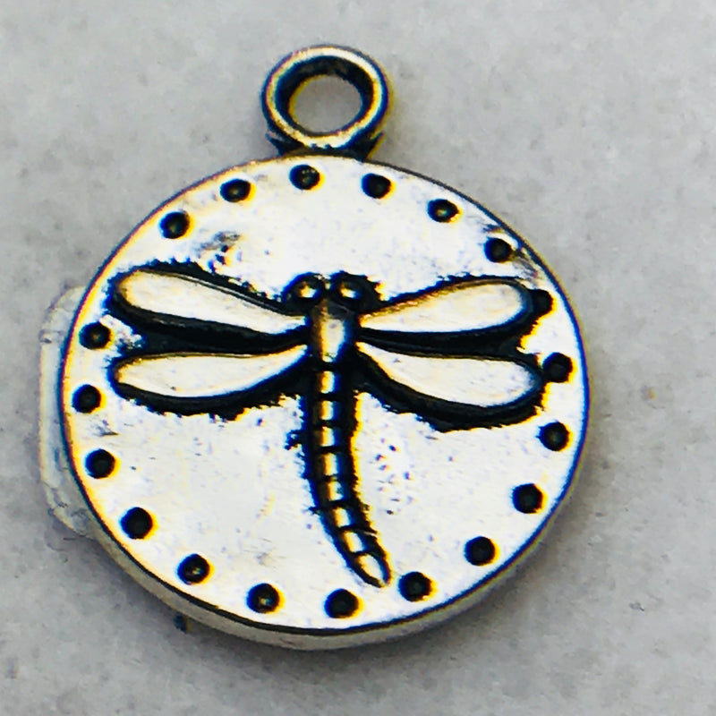 Dragonfly Coin Charm, Silver, 15mm