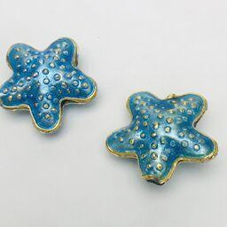 Cloisonne Starfish Bead, Aqua 20mm
