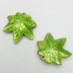 Cloisonne Maple Leaf Bead, Green 25mm