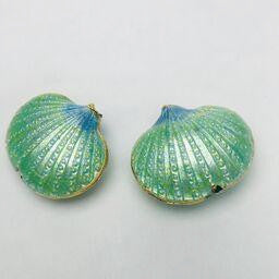 Cloisonne Shell Bead, Turquoise 20mm