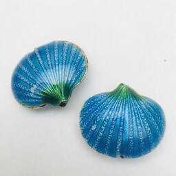 Cloisonne Shell Bead, Aqua 20mm