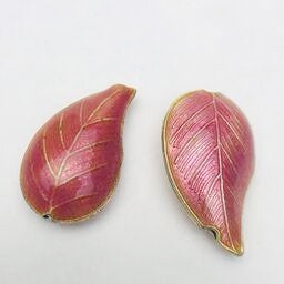 Cloisonne Leaf Bead, Pink 30mm