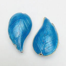 Cloisonne Leaf Bead, Blue 30mm