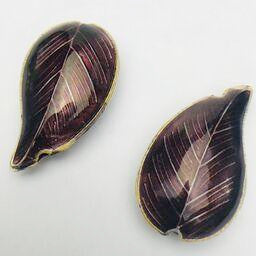 Cloisonne Leaf Bead, Purple 30mm