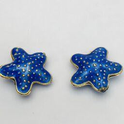 Cloisonne Starfish Bead, Blue 20mm