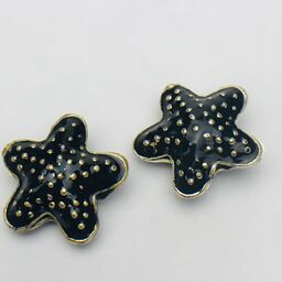 Cloisonne Starfish Bead, Black 20mm
