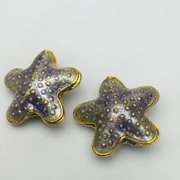 Cloisonne Starfish Bead, Purple 20mm