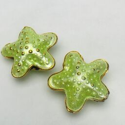 Cloisonne Starfish Bead, Light Green 20mm