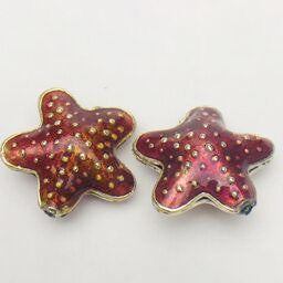 Cloisonne Starfish Bead, Red 20mm