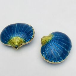 Cloisonne Shell Bead, Blue 20mm