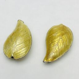 Cloisonne Leaf Bead, Gold 30mm