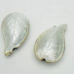 Cloisonne Leaf Bead, Milky White 30mm
