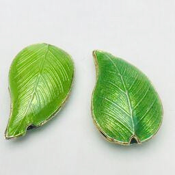 Cloisonne Leaf Bead, Green 30mm
