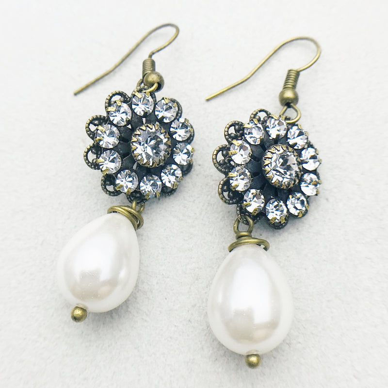 Claudette Antiqued Brass and White Mother of Pearl Drop Earrings