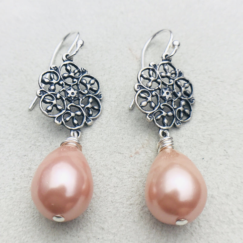 Alexa Vintage Peach Mother of Pearl Drop Earrings