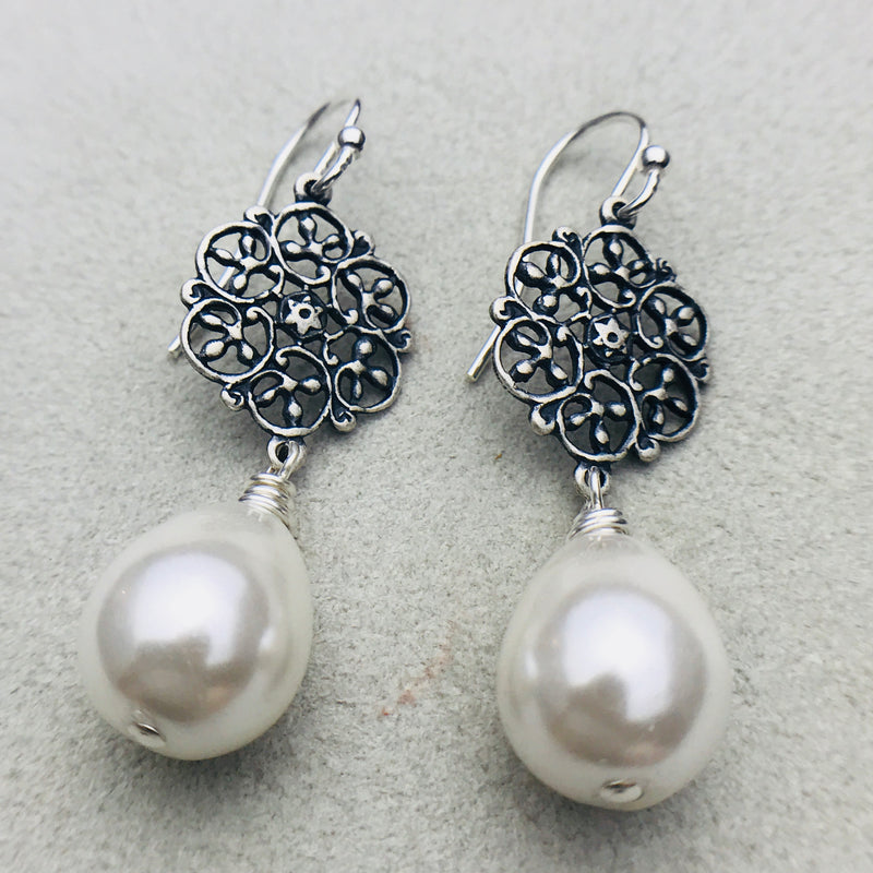 Vintage silver and mother of pearl drop earrings