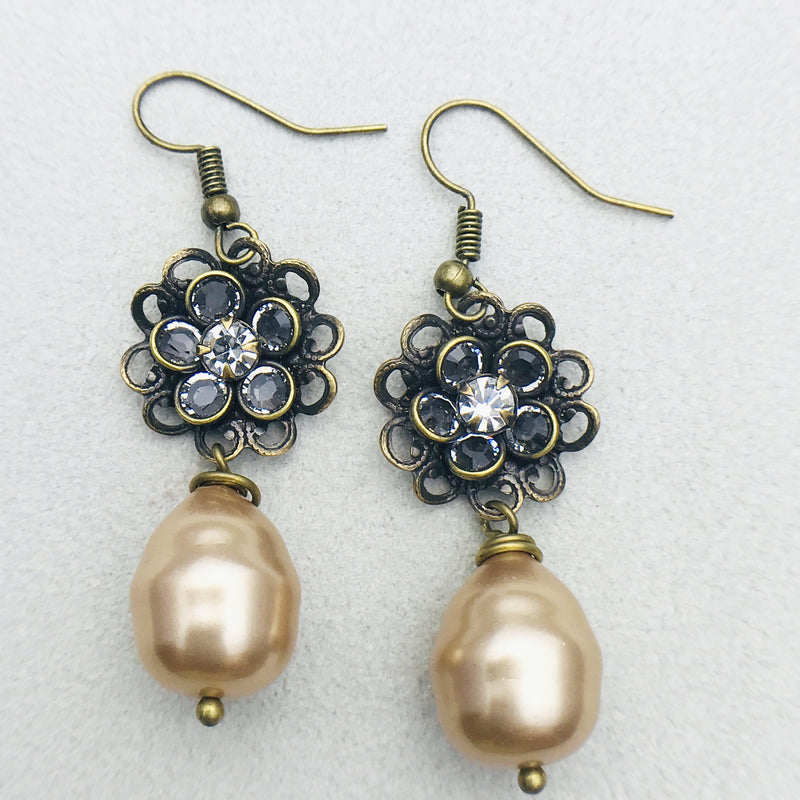 Flora Antiqued Brass and Gold Mother of Pearl Drop Earrings