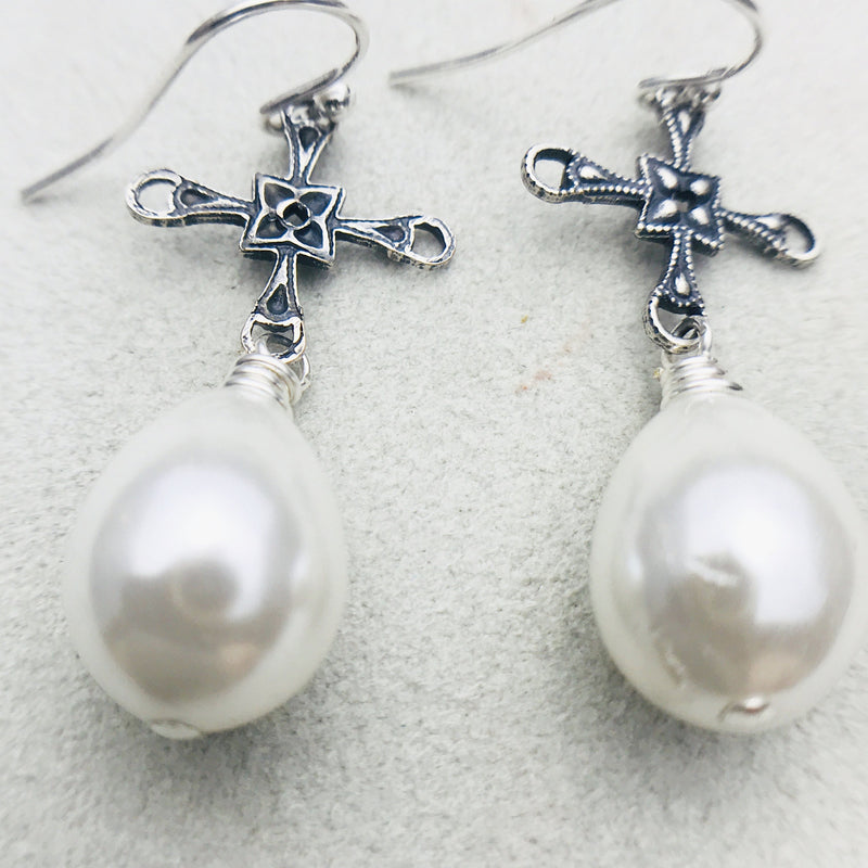 Christina Vintage Silver Cross and White Mother of Pearl Drop Earrings