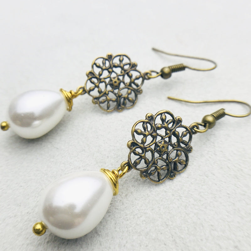 Alexa Antiqued Brass and White Mother of Pearl Drop Earrings