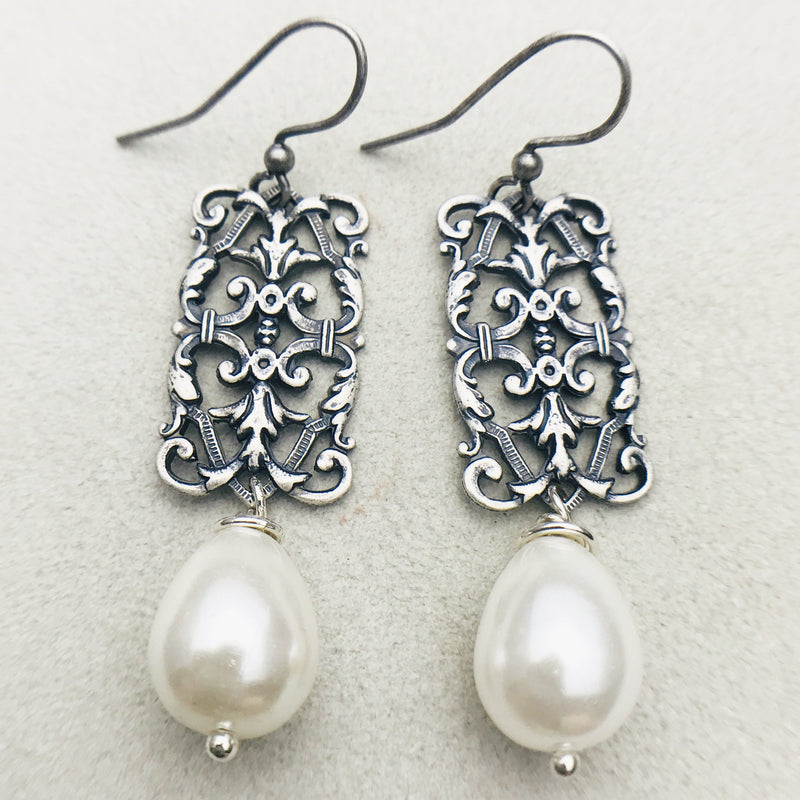 Vintage silver and white mother of pearl drop earrings