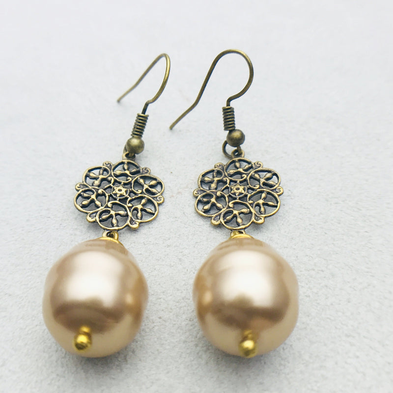 Alexa Antiqued Brass and Gold Mother of Pearl Drop Earrings