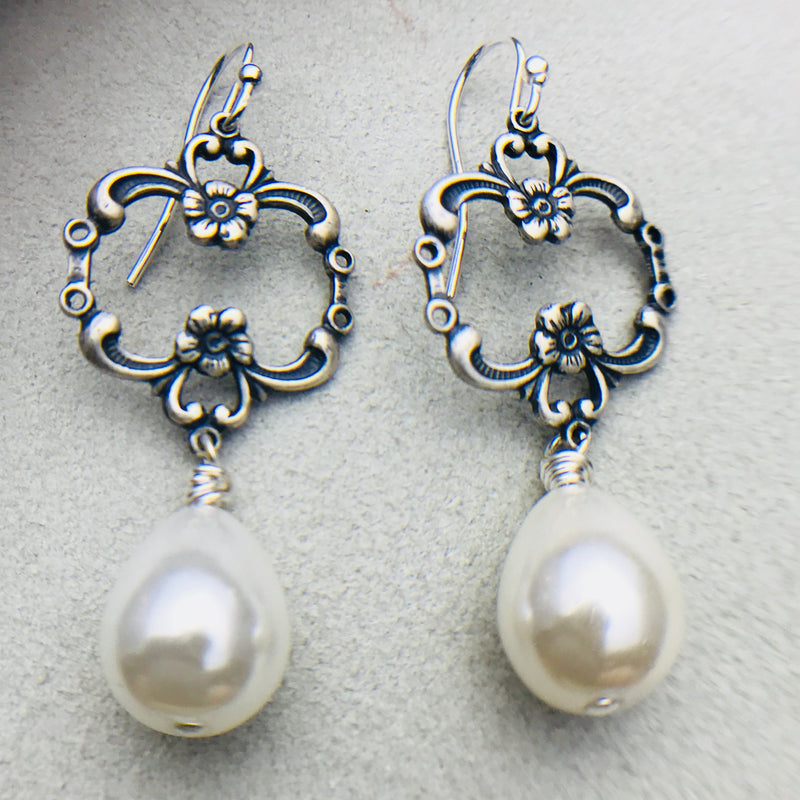 Johanna Vintage Mother of Pearl Drop Earrings