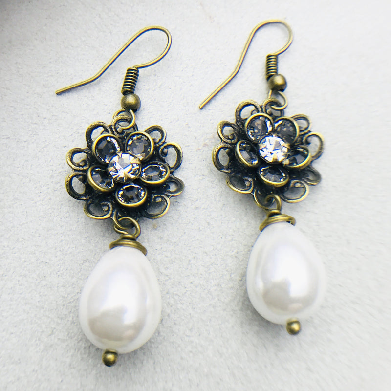 Simone Antiqued Brass and White Mother of Pearl Drop Earrings