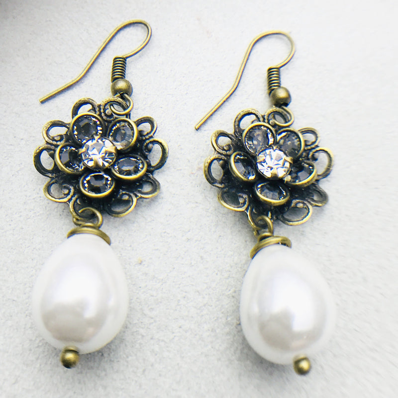 Flora Antiqued Brass and White Mother of Pearl Drop Earrings