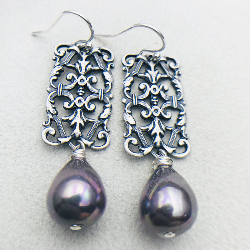 Penelope Vintage Grey Mother of Pearl Drop Earrings