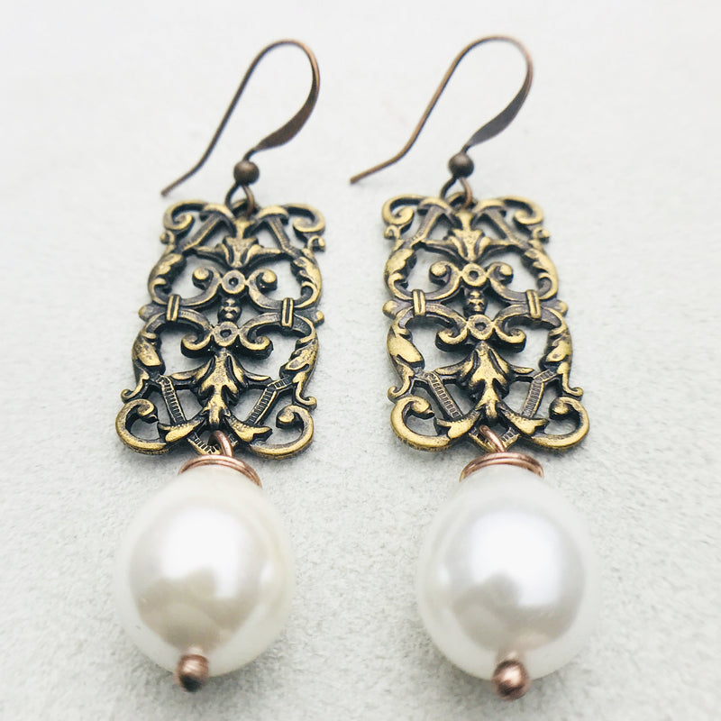 Penelope Vintage Brass and White Mother of Pearl Drop Earrings