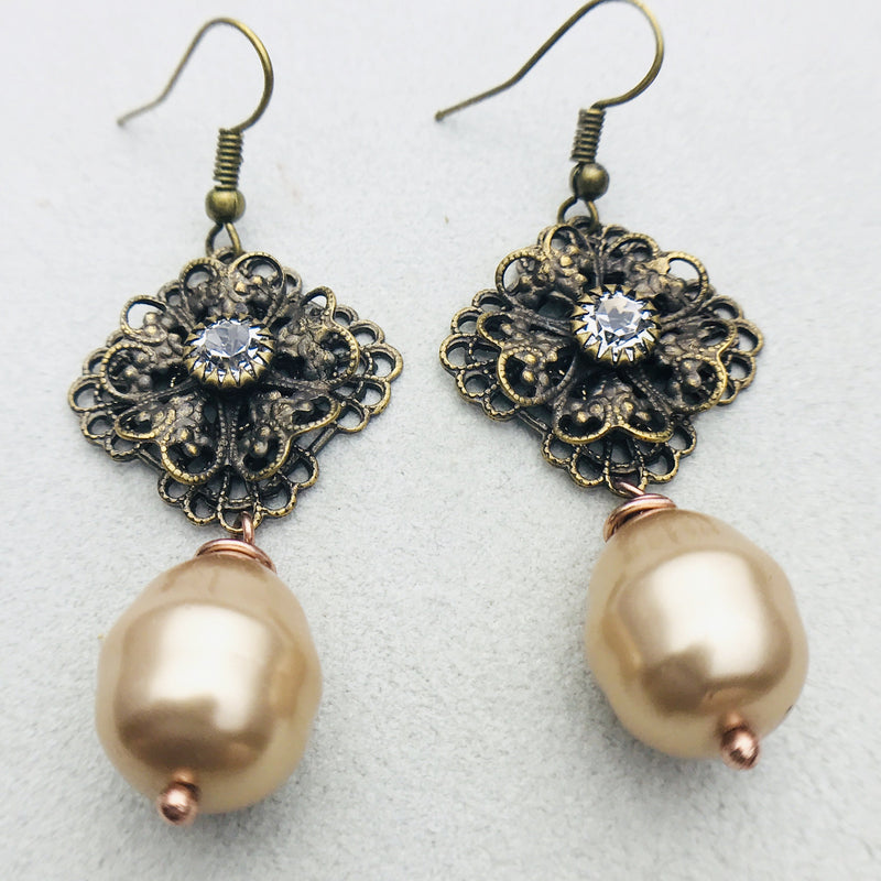 Simone Earring in Antiqued Brass and Gold Mother of Pearl