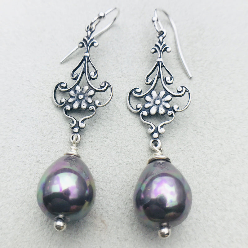 Gabriela Vintage Silver and Grey Mother of Pearl Drop Earrings