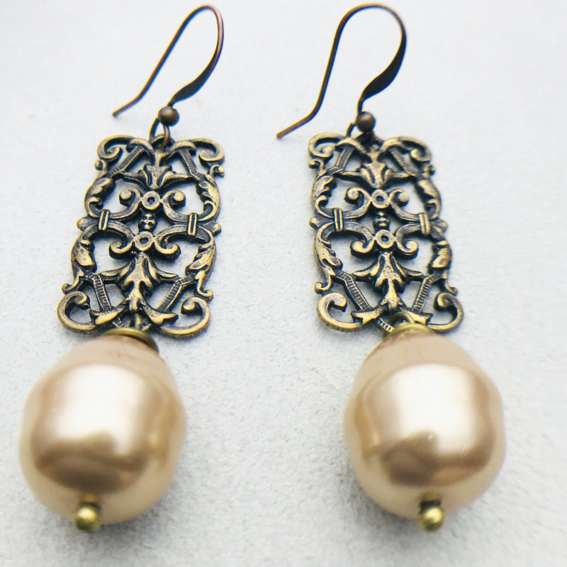 Penelope Vintage Brass and Gold Mother of Pearl Drop Earrings